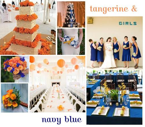 Navy blue and tangerine!